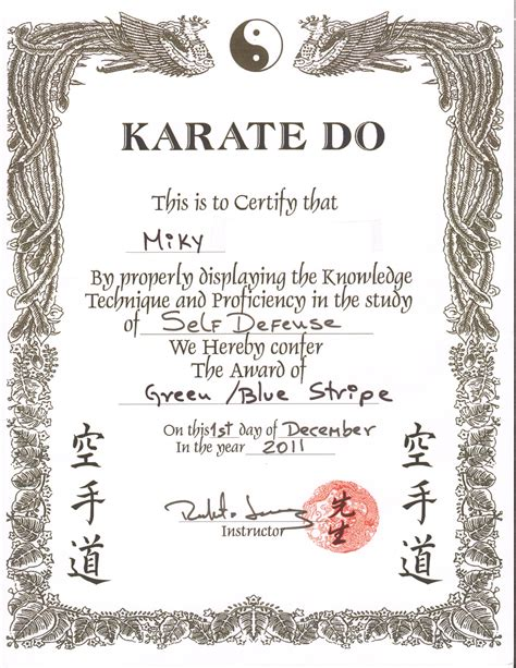 shotokan karate certificate images