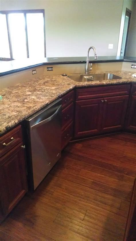 Kitchen Countertops Laminate Birch Cabinets With Stain Wilsonart Winter Carnival Laminate With Karran Stainless Steel