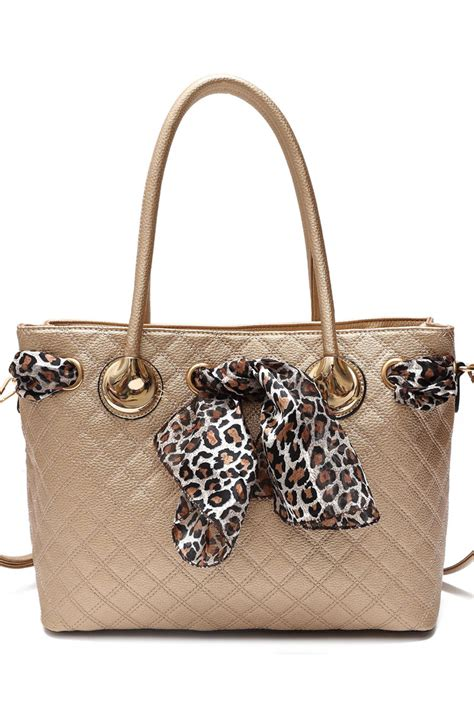 leopard scarf and quilted accented top handle tote bag