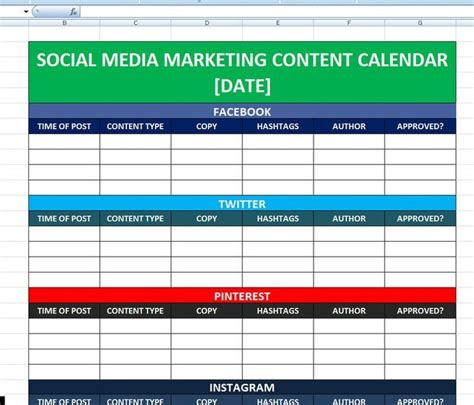 social media content calendar template how to use for business
