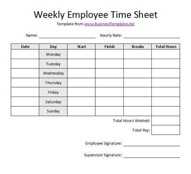 free printable timesheet templates free weekly employee