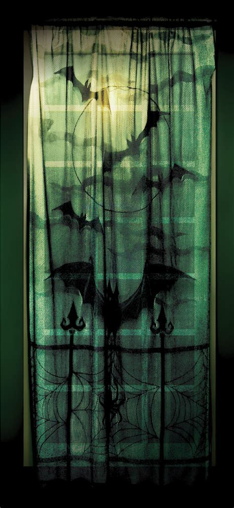 halloween curtain black gothic halloween window sheer lace panel curtain bat