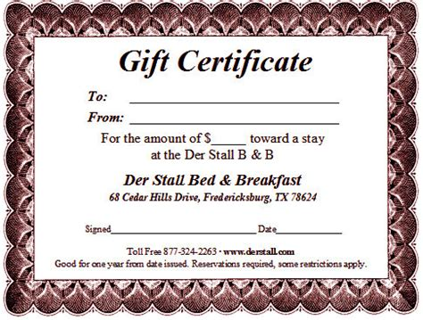 bed and breakfast gift card fredericksburg texas bed breakfast gift certificate