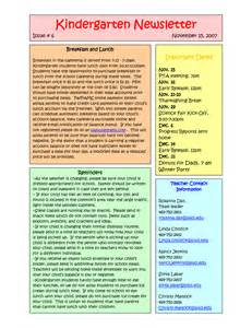 kindergarten newsletter template best photos of sle templates kindergarten