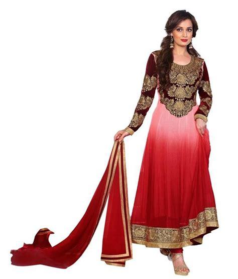 Anarkali Dress By Mohini 2 mohini fashion maroon pink tone unstitched anarkali gown