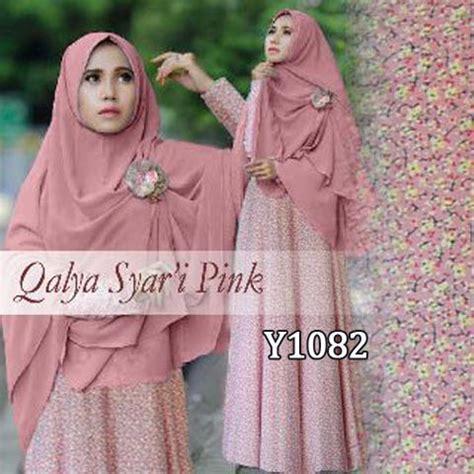 Syar I Pink Bergo baju gamis bergo qalya bunga y1082 maxi dress muslim