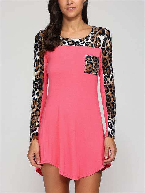 Sleeve Print Mini Dress sleeve leopard print mini swing dress in leopard