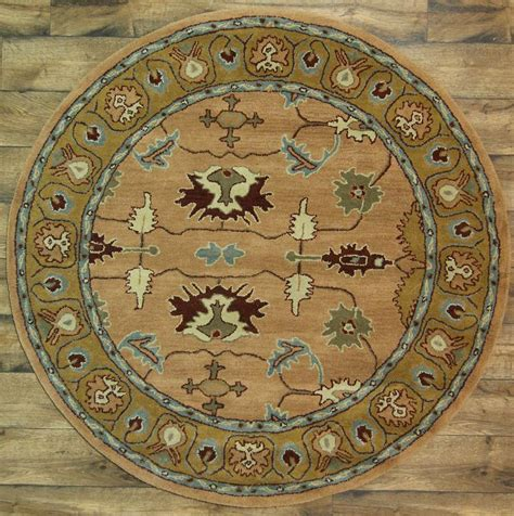 6x6 area rug traditional floral tufted 6x6 oushak area rug wool carpet ebay