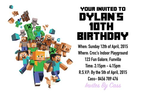 ideas for minecraft birthday invitations templates