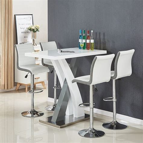 grey pub table set axara bar table in white and grey gloss with 4 ritz white