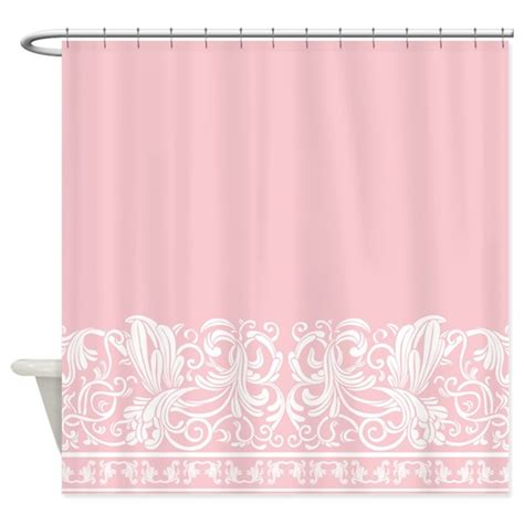 pink shower curtains fabric light pink damask shower curtain by decorativedesigns