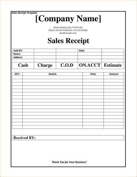 standard photography sales receipt template 6 business receipt template authorizationletters org