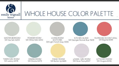 paint palettes for home whole house color palette copy jpg