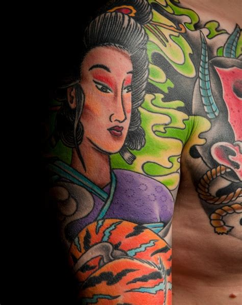 geisha and tiger mark thompson tattoo
