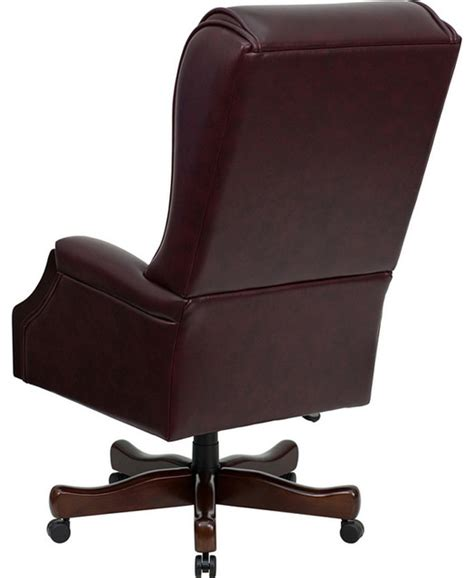 Traditional Office Chairs by High Back Traditional Tufted Burgundy Leather Executive