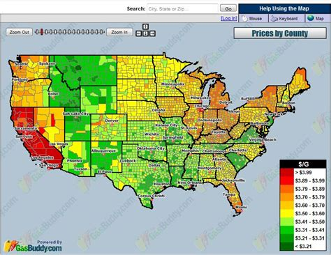 cost of living by state map current average cost of gas by county