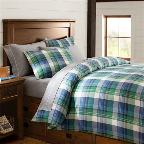 green plaid bedding field house plaid duvet cover sham blue green pbteen