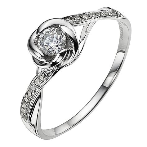 9ct white gold 0 33 carat flower ring ernest jones