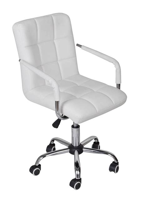 White Modern Office Leather Chair Hydraulic Swivel Swivel Computer Desk