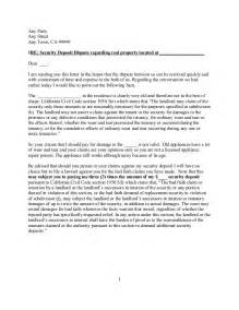 free sle california security deposit dispute letter