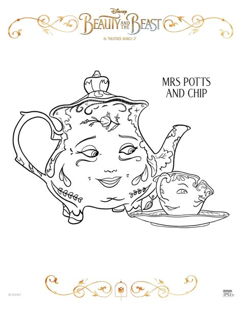 chip beauty and the beast coloring pages disney beauty and the beast mrs potts and chip coloring