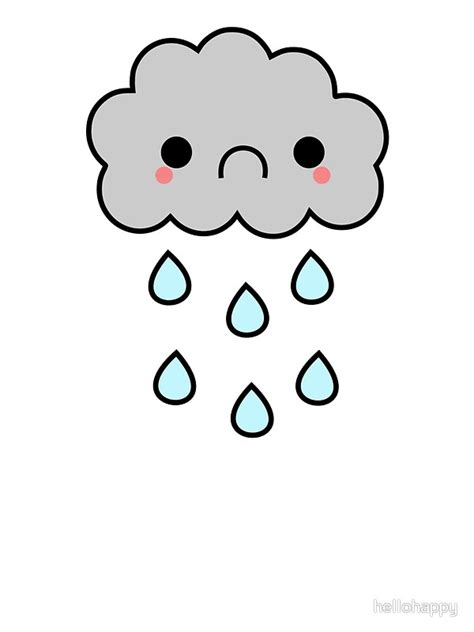 Wall Stickers Clouds quot adorable kawaii sad rainy storm cloud quot stickers by