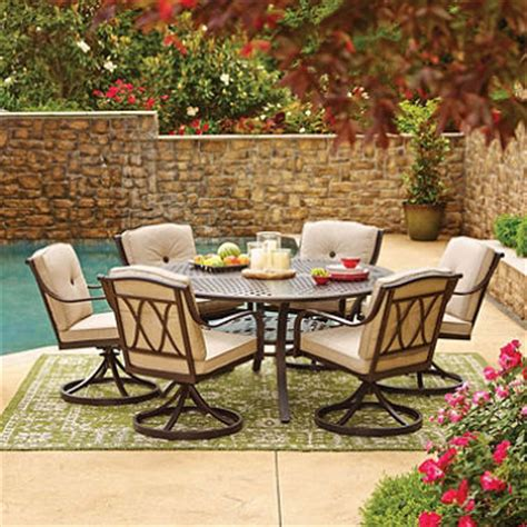 Cast Aluminum Outdoor Furniture Reviews - member s mark miller s creek round sunbrella dining set sam s club