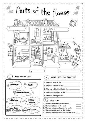 Label Parts Of The Worksheet by Label The Parts Of The House