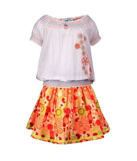 Orange Skirt Set shoppertree white embroidery top with orange skirt set