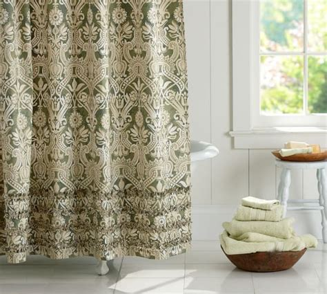 shower curtain pottery barn lorraine ruffle shower curtain pottery barn