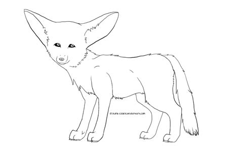 free lineart fennec fox by punk cookie on deviantart