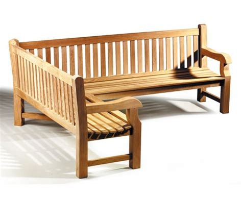outdoor corner bench seating balmoral teak wooden corner garden bench left orientation