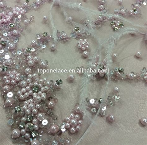 beaded lace fashion white beaded lace fabric tulle beaded lace fabric