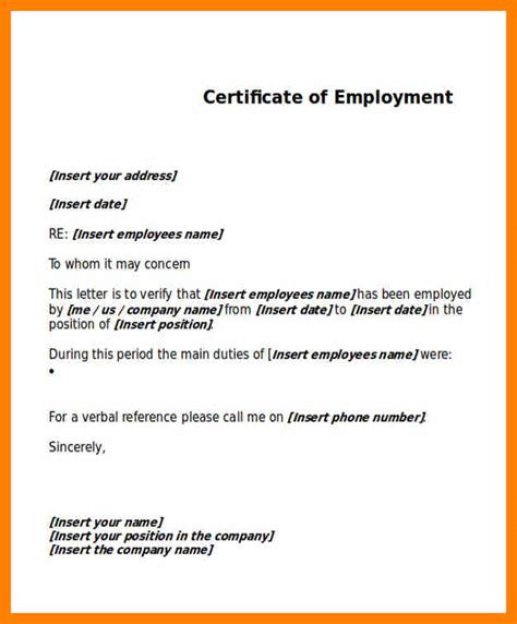 Employment Certificate Letter Word 11 employment certificate template homed