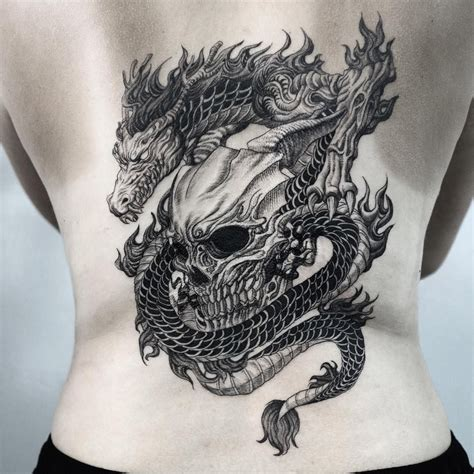 dragon skull tattoo designs blackwork and skull on back by chaegirin
