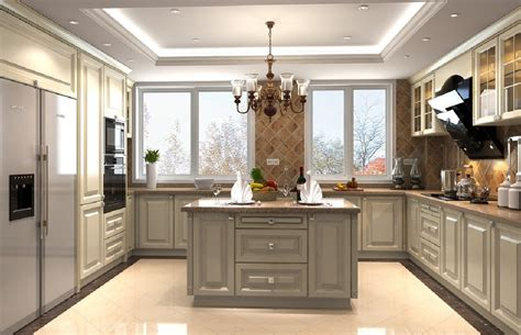 Open Kitchen Designs With Island by 3d Design Kitchen Suspended Ceiling And Windows