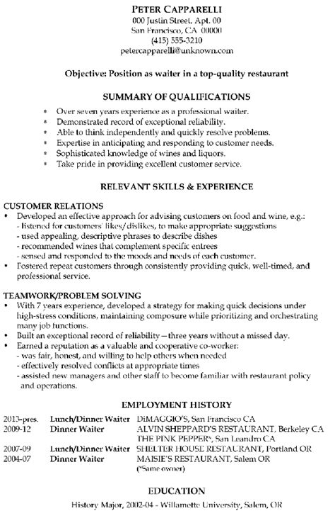 exle of waiter resume resume sle waiter