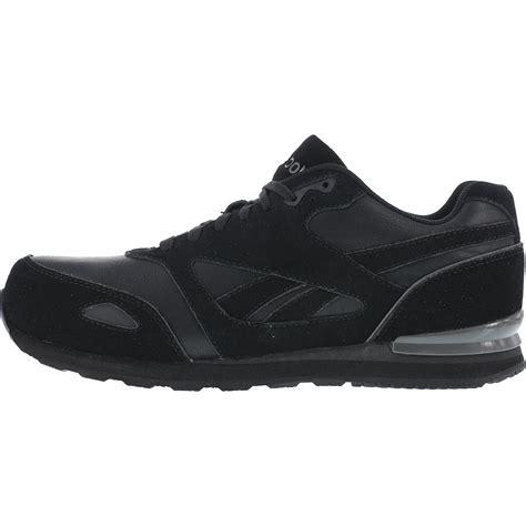 reebok composite toe slip resistant black work sneaker