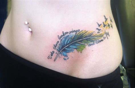 watercolor tattoos hip watercolor feather take these broken wings and