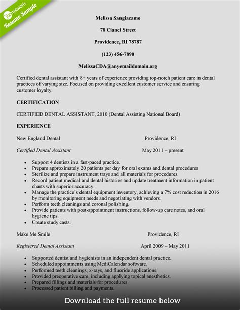 resume for dental assistant how to build a great dental assistant resume exles