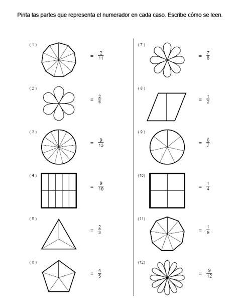 figuras geometricas fracciones ejercicios de fracciones para colorear buscar con google