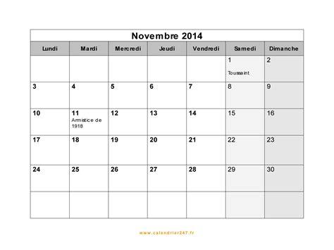Calendrier Novembre 2010 Calendrier Novembre 2014 224 Imprimer Gratuit En Pdf Et Excel