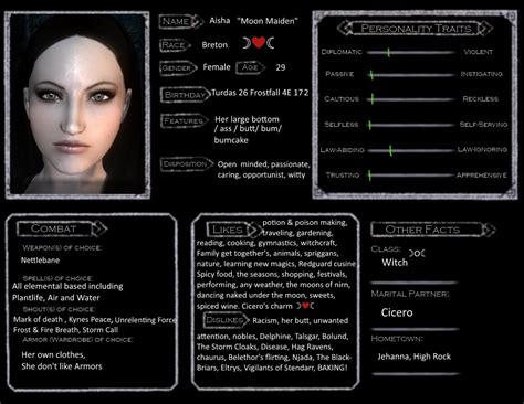 skyrim character templates skyrim character template aisha moon maiden by dolly