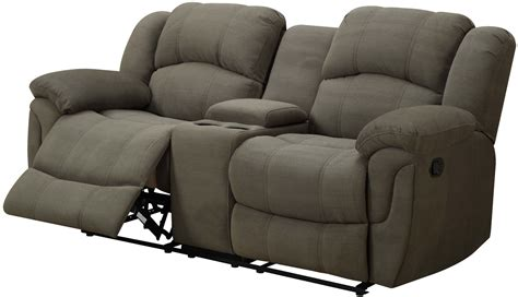 microfiber reclining loveseat with console hadley ii and padded microfiber reclining console