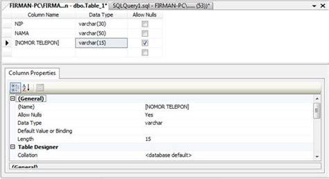 query membuat tabel sql tutorial membuat tabel database di sql server 2008