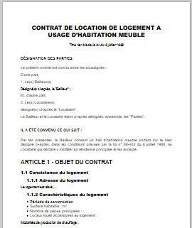 contrat de location meubl 233 e mod 232 le word et pdf pr 234 t 224