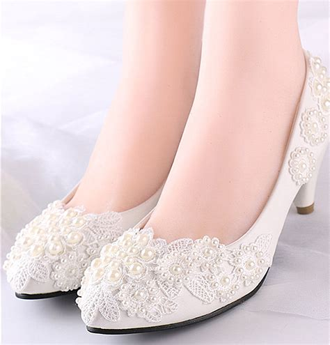 flats 4cm 7 5cm wedges heels white lace wedding shoes pearls bridal size 6 10 ebay