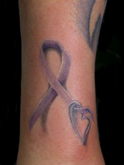 cancer ribbon tattoo 30 unique purple ribbon tattoos