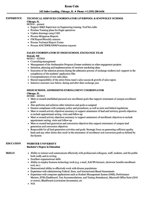 Sle Resume For School Coordinator Position elementary school registrar sle resume banquet chef sle resume
