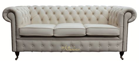 Leather Sofas Essex Chesterfield 3 Seater Ivory Leather Sofa Offer